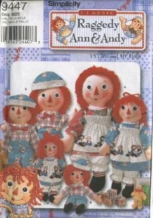 Doll Clothing Simplicity (Simplicity 9447 - Classic Raggedy Ann and Andy - 15-Inch, 26-Inch and 36-Inch Doll and Clothing Patterns)
