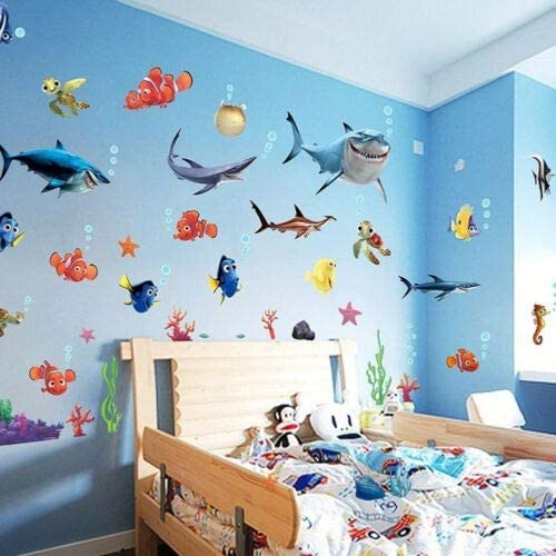Amazon.com: Finding Nemo Shark Fish Bathroom Mural Wall Decals Decor Kids Fun Popular Fashion for Boys Girls Living Room