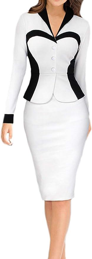 DELEY elegancka damska sukienka ołÓwkowa w stylu body z długimi rękawami, ubranie biznesowe na imprezę: Odzież