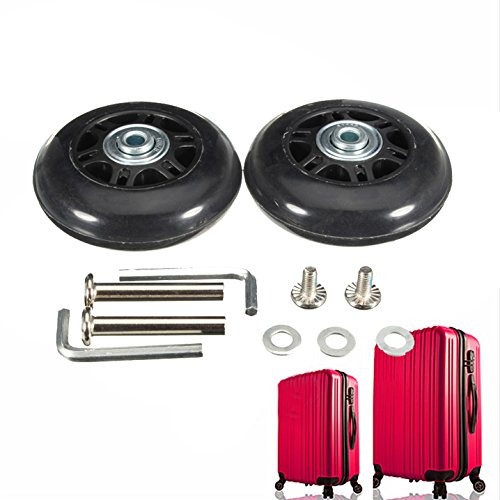 Cheap 75X23mm Black Luggage Suitcase / Inline Outdoor Skate Replacement Wheels with ABEC 608zz Beari...