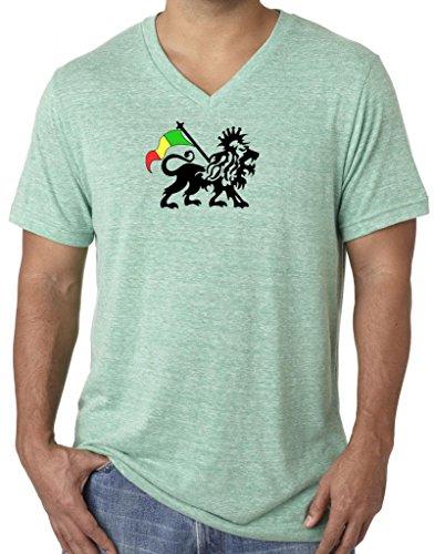 Mens RASTA Tri Blend V-neck Tee Shirt, Large Green Triblend