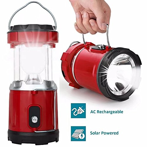 LED Camping Lantern, IRuiYinGo Solar Outdoor Rechargeable LED Flashlight Ultra Bright Collapsible Hand Tough Lamp Perfect Outdoor Survival Lamp for Hiking Fishing Trekking Emergency Outages