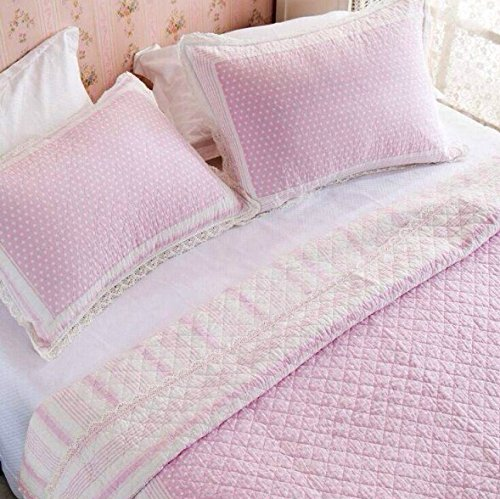 Kids Bedding Set Pink Blue Polka Dot Bed Quilt Set