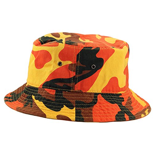 Gelante 100% Cotton Packable Fishing Hunting Sunmmer Travel Bucket Cap Hat (Large/X-Large, Orange Camo)
