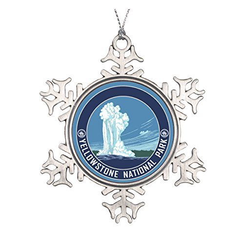 Delia32Agnes Old Faithful - Yellowstone National Park Souvenir Christmas Ornaments Pewter Snowflake Ornaments for Christmas Decoration
