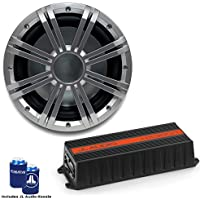 JL Audio HX300/1 Marine Subwoofer Amplifier with Kicker KMW102 10 Silver NON-LED Marine Subwoofer