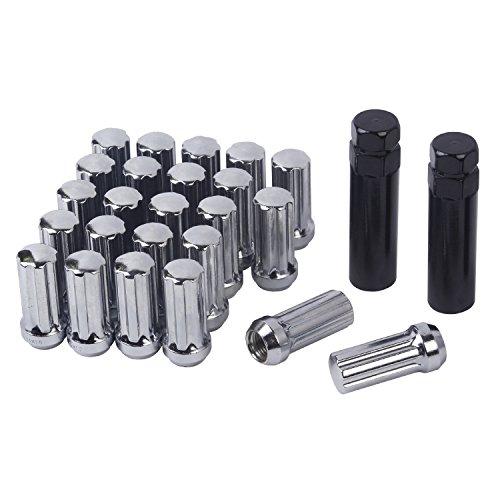 HanAuto Chrome Plating Lug Nuts with 2 Key(14mm x 1.5 Thread Size) - Pack of 24 Wheel Lug Nuts, 75114C242 - Chrome Plating Wheels