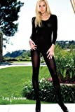 Lycra Opaque Long Sleeves Bodystocking (Black;Plus Size)
