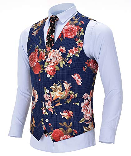 Men's Fashion Suit Vest Slim Fit Solid Plaid Printed Patterned Waistcoat for Wedding(Blue, - Waistcoat Patterned