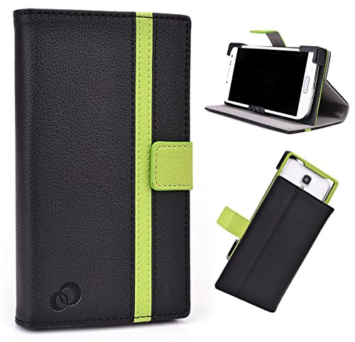 Black/Green Universal Men Women's Faux Leather Case Cover...