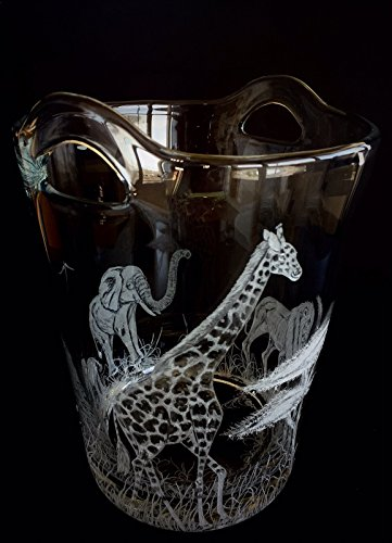 Hand Engraved Ice Bucket African Animals, Lion, Giraffe and Elephant, African Safari Scene, Engraved Bar Ware, Wedding Gifts Etched by Akoko Art Handengraved Crystal Glass