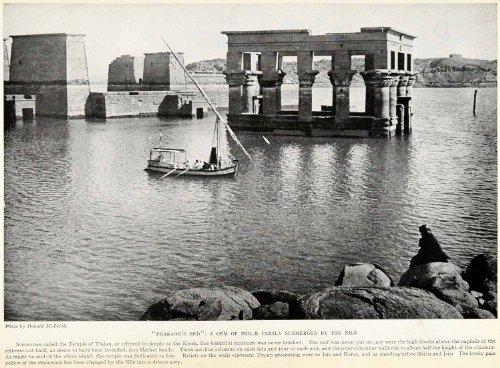 Finished Poster Bed (1923 Print Donald McLeish Pharoah Philae Nile Temple Trajan Kiosk Isis Horus - Original Halftone Print)