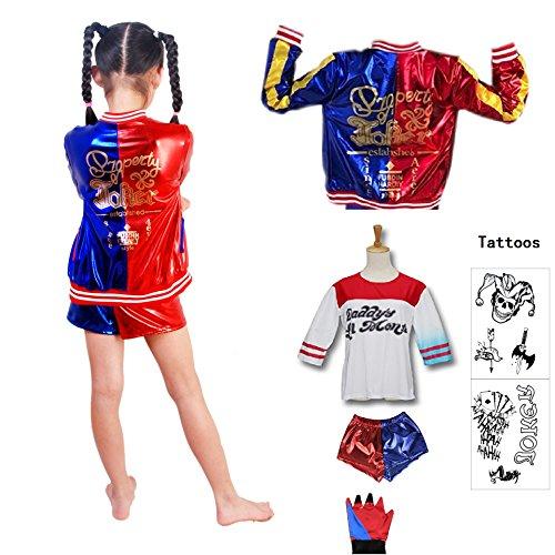 SUPETE Kids Girls Coat Shorts Tops Set Halloween Costume (S=110CM(4-6Years), Red / Blue Print) - Joker Girl Halloween Costume