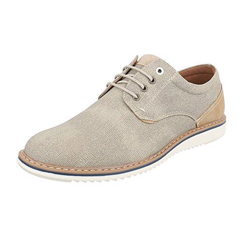 design Hombre Con Planos Cordones Zapatos Beige Ital 8wSqZq