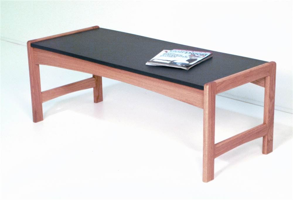 Modern Solid Wood Coffee Table w Black Melamine Top - Dakota Wave (Medium Oak)