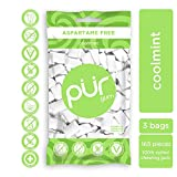 PUR 100% Xylitol Chewing Gum, Coolmint, 55 Pieces per Bag (Pack of 3) Sugar-Free + Aspartame Free, Vegan + non GMO