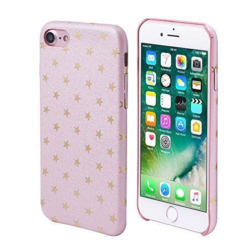 (iProtect Limited Edition Star Case for Apple iPhone 7, iPhone 8 TPU Hardcase - Unique Design - Smooth Touch Protective Sleeve with Gold Stars in Light Pink)