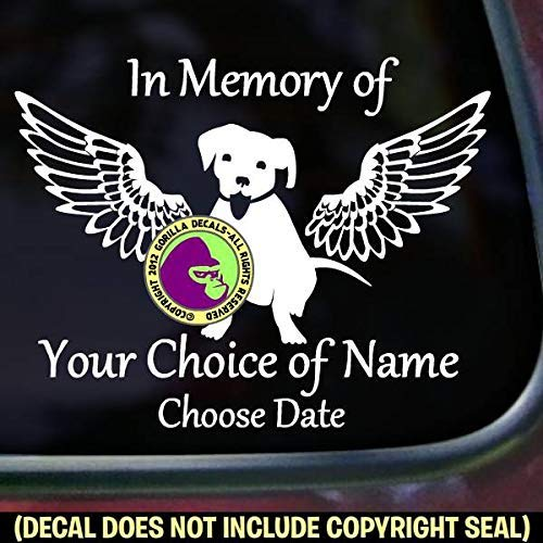 (MEMORIAL Dog with Wings ADD CUSTOM WORDS Vinyl Decal Sticker A)