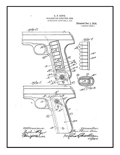 Frame a Patent Magazine for Rapid-fire Arms Patent Print Bla