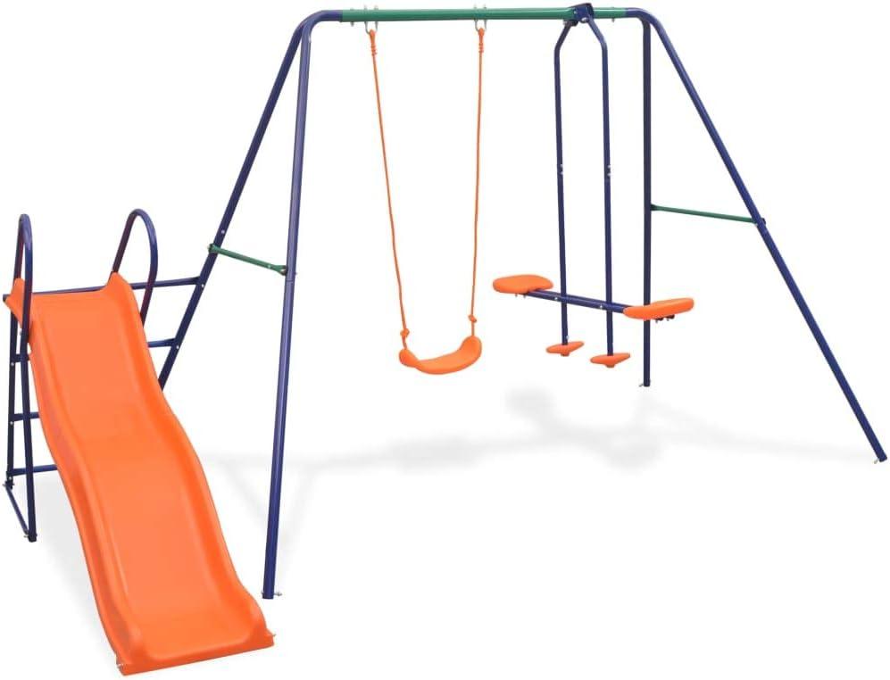 vidaXL Juego de Columpios para Jardín de 3 Piezas Asientos Juguete para Niños Parque Casero Infantil de Acero y Plástico Naranja
