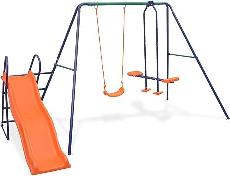 vidaXL Juego de Columpios para Jardín de 3 Piezas Asientos Juguete para Niños Parque Casero Infantil de Acero y Plástico Naranja: Amazon.es: Juguetes y juegos