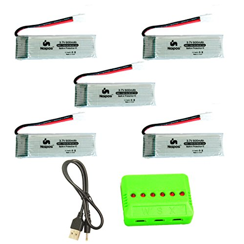 Noiposi 5PCS 3.7v 600mAh 25C LiPo Battery with 1 In 6 Charger for U28W JJRC H37 EACHINE E50 Foldable Pocket Selfie Quadcopter Drone