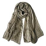 GERINLY Cotton-Linen Scarves Mens Stripe Crinkle Long Scarf (Light Brown)