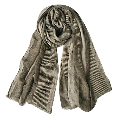 GERINLY Cotton-Linen Scarves Mens Stripe Crinkle Long Scarf (Light Brown) by GERINLY