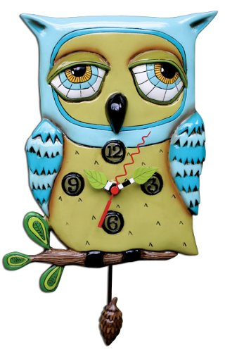 Old Blue Owl  clock - owl wall decorations