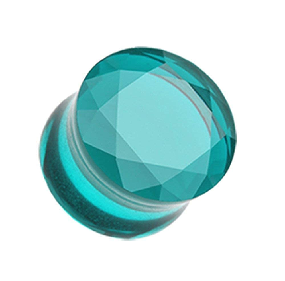 Covet Jewelry Faceted Pyrex Glass Gemstone Double Flared Ear Gauge Plug