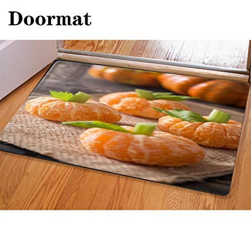 3D Printing and Dyeing,Bathroom Carpet, Door mat,Healthy Halloween Treats Tangerine Pumpkin Kids Fun Flannel Foam Shower mat, Absorbent Kitchen Door Carpet