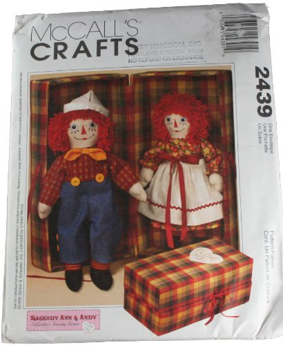 - McCall's 2439 Pattern 20 Inch Raggedy Ann & Andy Dolls with Carrying Case Size one