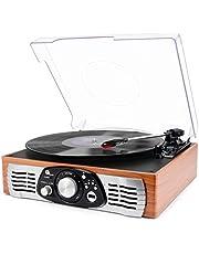 """1byone Tocadiscos estéreo de 3 velocidades con Altavoces incorporados, graba de Vinilo a MP3, Reproduce MP3, Salida RCA, Madera Natural. (03) """""""