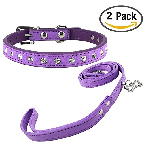 (Newtensina Stylish Dog Collar and Lead Set Soft Suede Cute Bling Dog Collar with Diamante and Leash for Dogs)