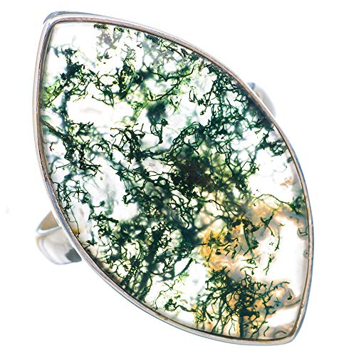 Large Green Moss Agate Ring Size 10 (925 Sterling Silver) - Handmade Boho Vintage Jewelry RING910033