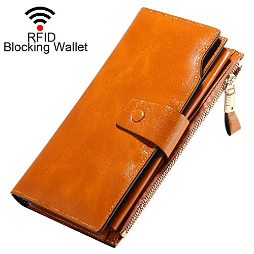 BESWILL Wallet Women RFID Blocking Large Capacity Luxury Wax Genuine Leather Clutch Wallet (Brown)