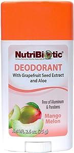 NutriBiotic Deodorant with GSE | Mango Melon Fragrance| 2.6 ounce Stick| Non GMO| With Witch Hazel, Grapefruit Seed Extract & Aloe | Vegan| Aluminum, Paraben, Phthalates, Gluten & GMO Free