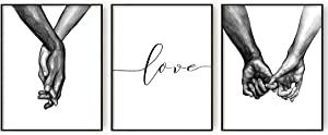 AllBlue Love and Hand in Hand Wall Art Canvas Prints Black And White Pinky Promise Poster Wall Art Decor for Living Room Set of 3 Minimalist Home Decor (8