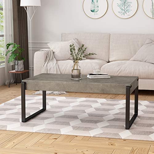 Christopher Knight Home Shaw Coffee Table Modern Contemporary Industrial Faux Wood with Iron Legs Light Concrete and Matte Black