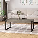 Christopher Knight Home Shaw Coffee Table | Modern | Contemporary | Industrial | Faux Wood with Iron Legs | Light Concrete and Matte Black