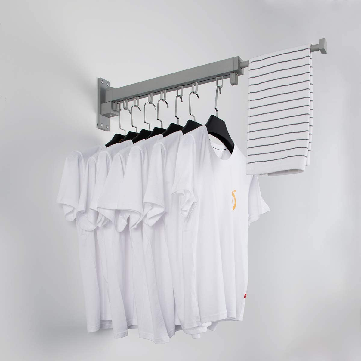 BENOSS Wall Mounted Clothes Drying Rack, Retractable Laundry Drying Rack Space Saver Hangers, Easy to Install, for Balcony, Laundry, Bathroom and Bedroom (Silver-Short)