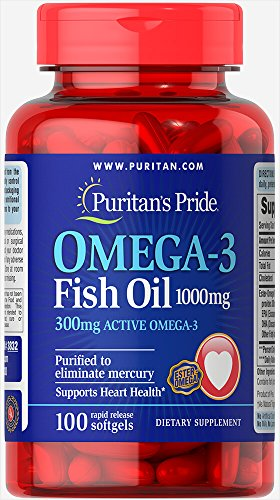 Puritan's Pride Omega-3 Fish Oil 1000 mg -100 Softgels