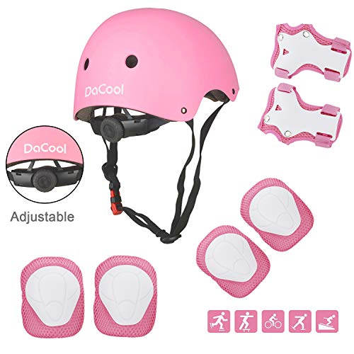 DaCool Kids Helmet Pad Set Elbow Knee Wrist Pads for Sports Protective Gear Set Adjustable Safety Set with Strap for 3~8yrs Girls Toddler Child Bike Cycling Skating Roller Scooter Outdoor Sports, Pink