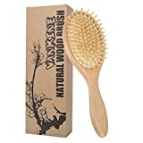 VANKINE Natural Wooden Paddle Beech Hair Brush- Anti Static Massage Cushioned HairBrush For All Hair Types. Wet/Dry