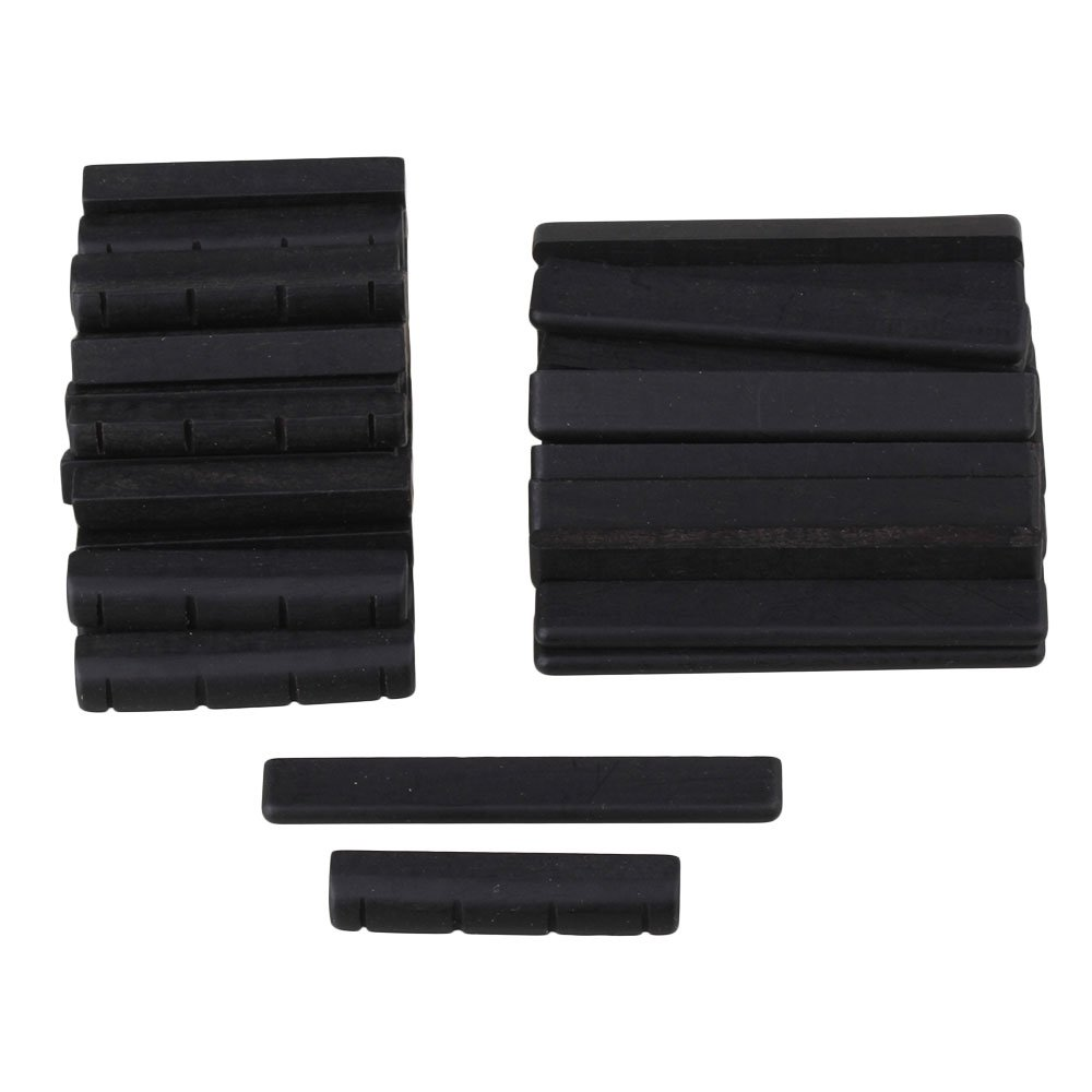 BQLZR 35x5x7mm Black Ebony Bridge Saddles and Nuts for 4 Strings Guitar Replacement Parts Pack of 50