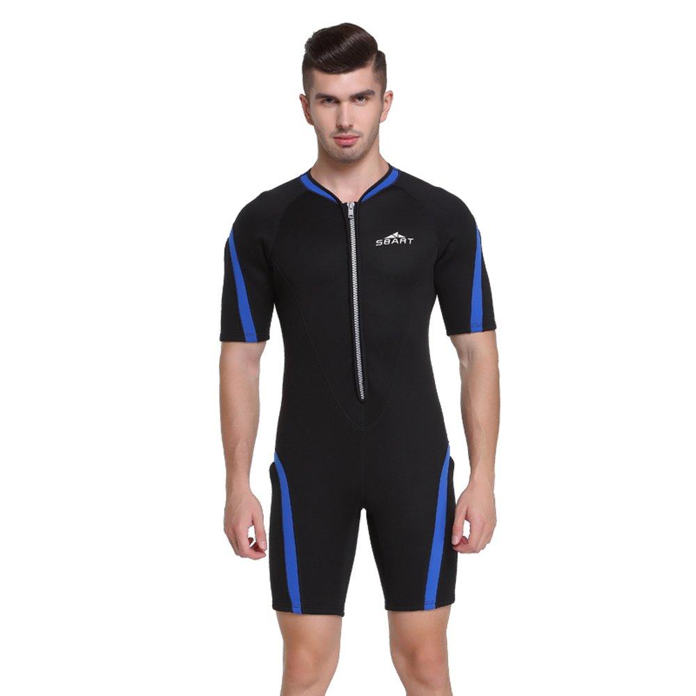 Unisex Short Sleeve 2MM Neoprene Wetsuit Men For Surfing One piece Triathlon Scuba Diving Spearfishing Wetsuit women Surfing (1110 Blue, L) by Shorty Wetsuit