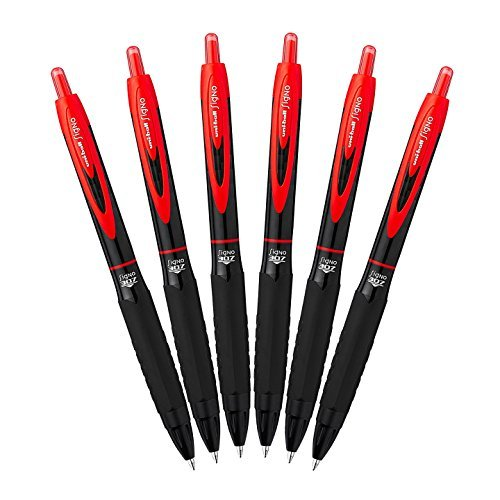 Uni-Ball 307 Retractable Gel Ink Pens, Medium Point 0.7mm, Pack of 6 (Red)