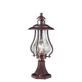 Vintage Antique Socket Lampe Abat Jour En Verre Marron Metal D
