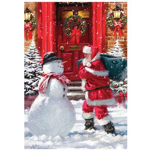 Santa and Snowman - Standard Size House Flag, 28 Inch X 40 (Standard House Flag)