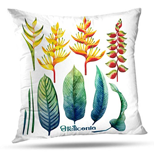 Collection Exotica - LILYMUA Watercolor Collection Exotic Leaves and Flowers White Watercolor Flower Zippered Pillow Cover,18 x 18 inch Square DecorativePillow Case Fashion Style Cushion Covers(Two Sides Print)
